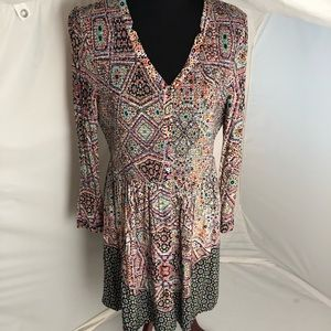 Anthropologie Maeve Amethyst Medallion dress L